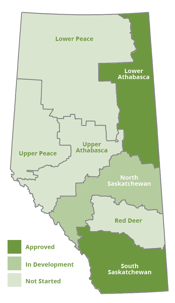 Map of Alberta's regions according to the Land-use Framework