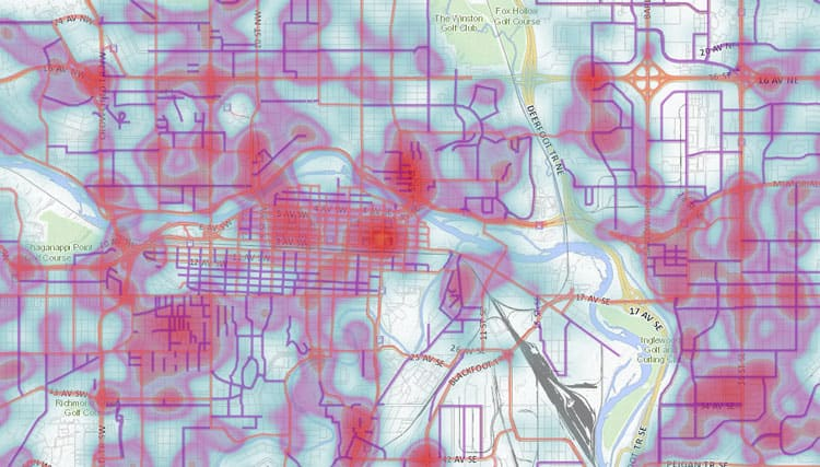Heat map of snow and ice issues in Calgary
