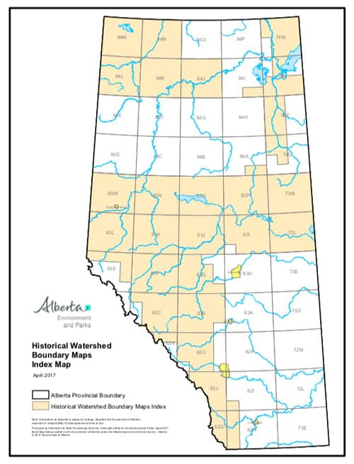 Index map for Alberta historical watershed maps