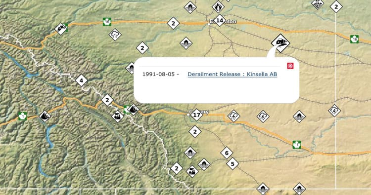 Screenshot of Public Service Canada Disaster Map