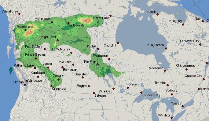 Screenshot of a Canada smoke forecast map