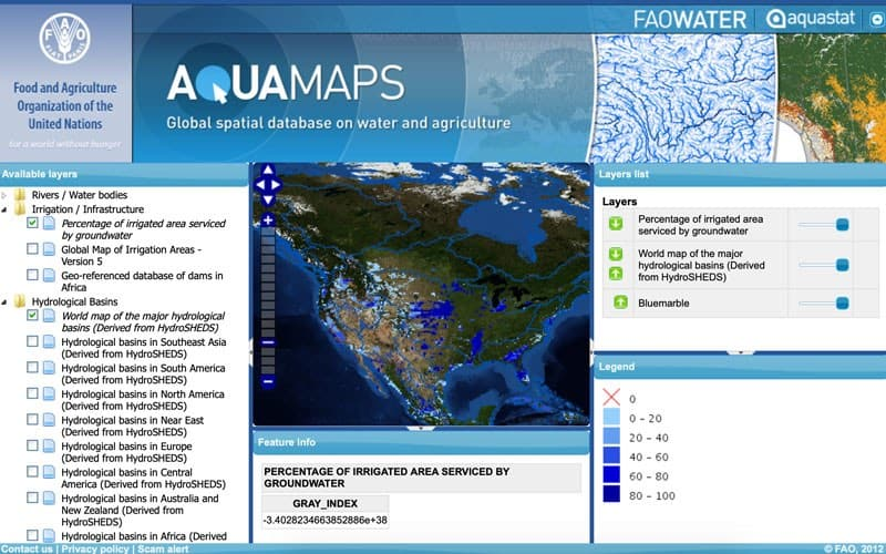 Screenshot of FAO aqua maps
