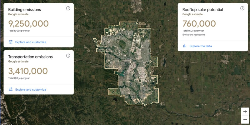 Screenshot of Google Sustainability map for Calgary