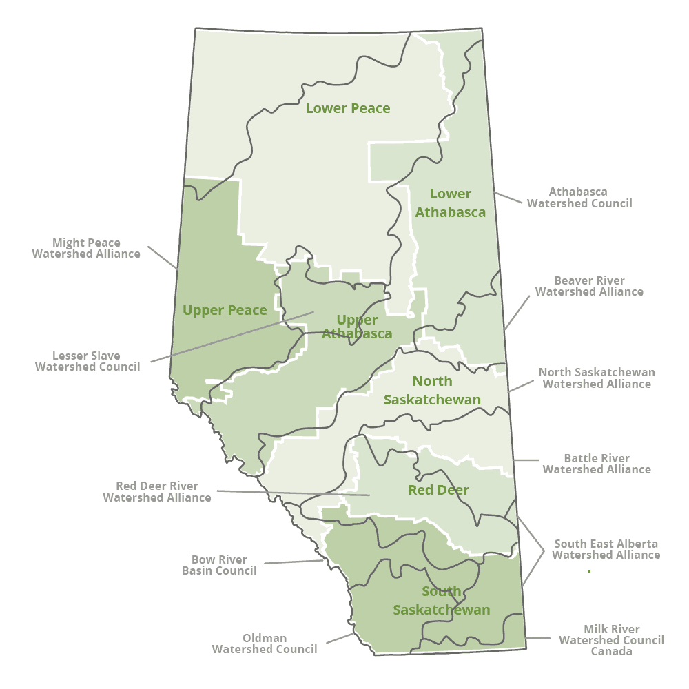 WPAC regions and land use planning regions in Alberta