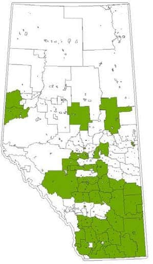 Alberta map of AMDSP municipalities