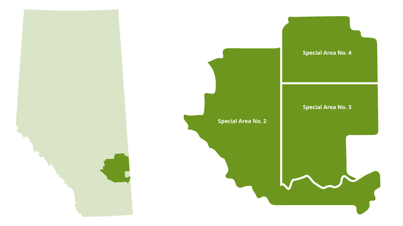 Map of Special Areas Alberta